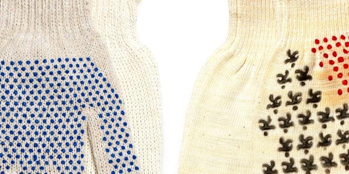 Сравнение перчаток 7 и 10 класса вязки